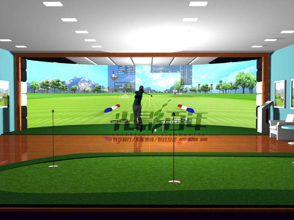 模拟高尔夫使用真实的高尔夫球和球杆,在30-40平方米的室内打位上