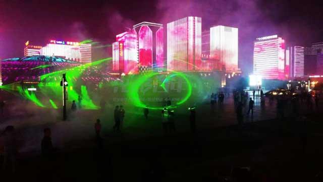 光影百年科技水幕投影案例--鄂尔多斯水秀